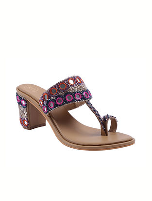 Multicolored Handcrafted Faux Leather Kolhapuri Block Heels
