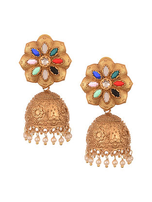 Multicolored Gold Tone Handcrafted Jhumki Earrings With Pearls