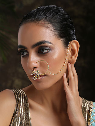 White Gold Plated Kundan Nosepin With Pearls