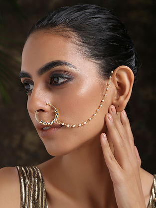 White Gold Plated Pearl Beaded Nath