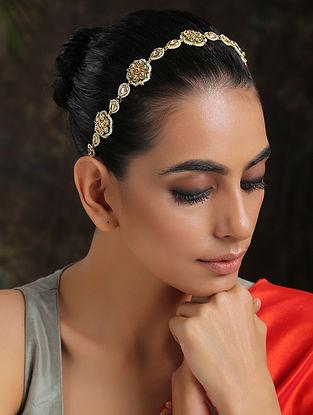 White Gold Plated Kundan Beaded Headband