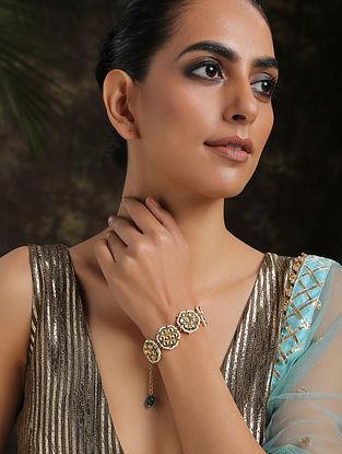 White Gold Plated Kundan Beaded Bracelet