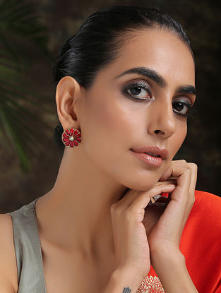 Red Gold Plated Handcrafted Earrings