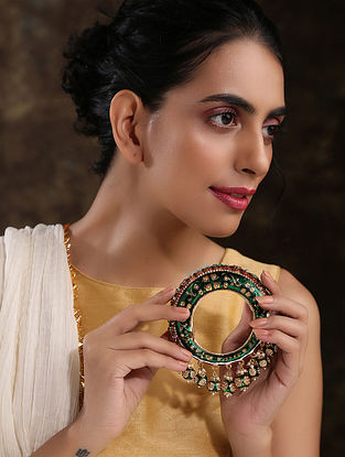 Green Gold Plated Enameled Kundan Bangle