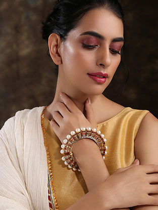 Multicolored Gold Plated Jadau Bangle With Pearls