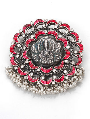Red Kundan Silver Pendant with Pearls