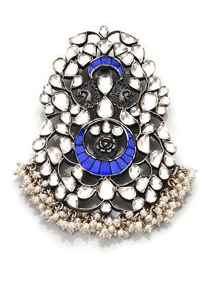 Blue Kundan Silver Pendant with Pearls