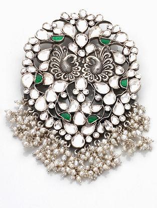 Green Kundan Silver Pendant with Pearls