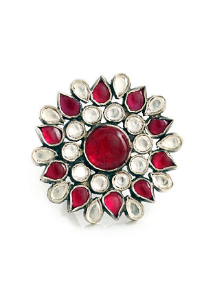 Red Kundan Adjustable Silver Ring