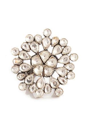 Silver Adjustable Kundan Ring