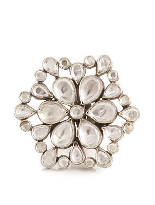 Silver Adjustable Kundan Ring