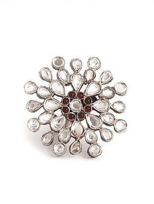 Red Kundan Adjustable Silver Ring