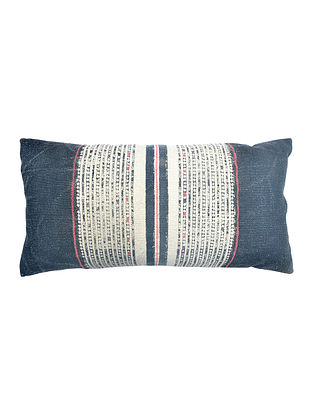 Multicolored Cotton Hand Block Printed Cushion Cover With Embroidery (14in x 28in)