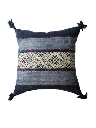 Multicolored Cotton Hand Block Printed Cushion Cover With Embroidery (20in x 20in)