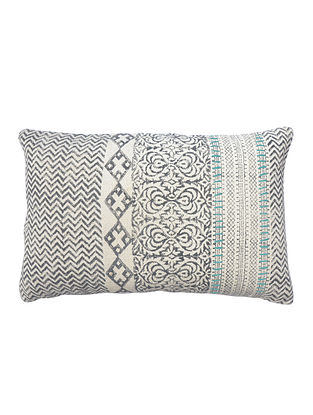 Multicolored Cotton Hand Block Printed Cushion Cover With Embroidery (16in x 24in)