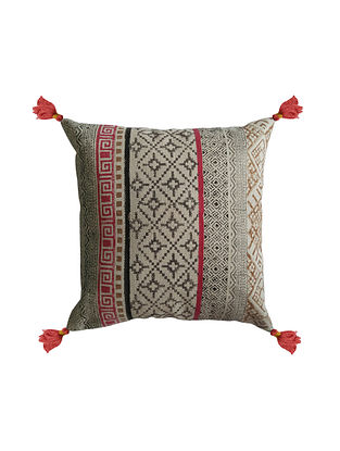 Multicolored Cotton Hand Block Printed Cushion Cover (20in x 20in)