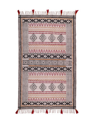 Multicolored Cotton Hand Block Printed Rug (48in x 72in)