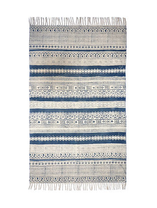 Multicolored Cotton Hand Block Printed Rug (36in x 60in)