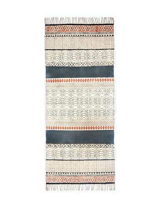Multicolored Cotton Hand Block Printed Rug (30in x 72in)