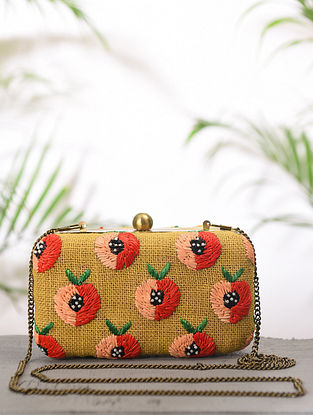 Yellow Pink Handcrafted Jute Cotton Clutch