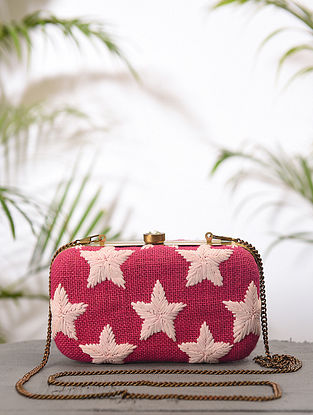 Pink White Handcrafted Jute Cotton Clutch