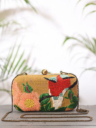 Multicolored Handcrafted Jute Cotton Clutch