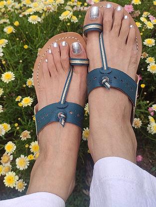Teal Blue Handcrafted Leather Kolhapuri Flats
