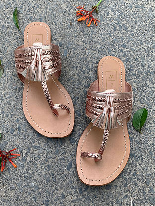 Rose Gold Handcrafted Leather Kolhapuri Flats