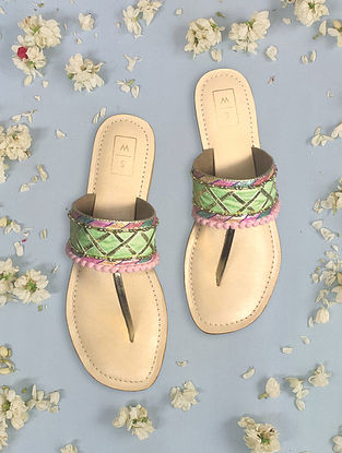 Mint Green Pink Handcrafted Leather Kolhapuri Flats