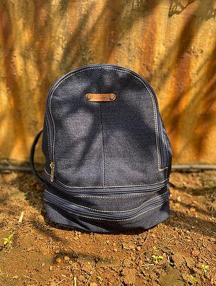 Blue Handcrafted Denim Cotton Backpack