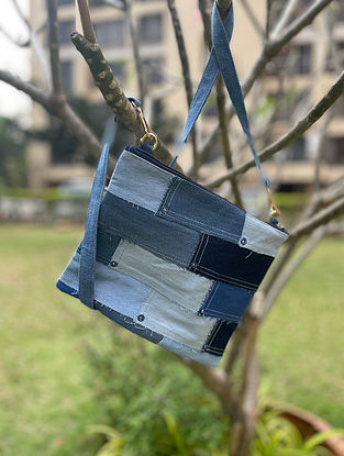 Blue Handcrafted Denim Cotton Sling Bag