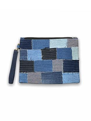 Blue Handcrafted Denim Cotton Pouch