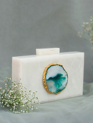 White Handcrafted Marble Clutch
