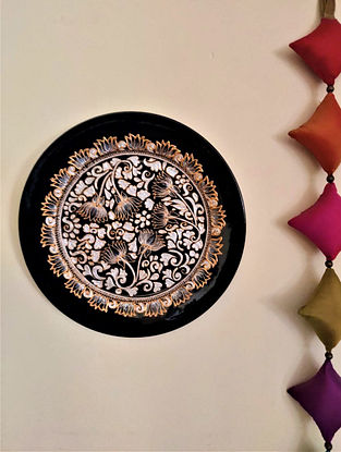 Black  Handcrafted Ornate LotusWall Plate (Dia - 11 In)