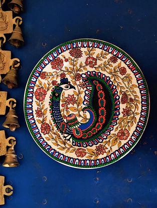 Handcrafted Kalamkari Peacock Wall Plate (Dia - 9 In)