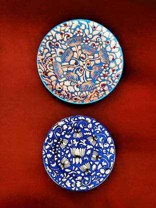 Blue & White Handcrafted Wall Plates (Set Of 2)