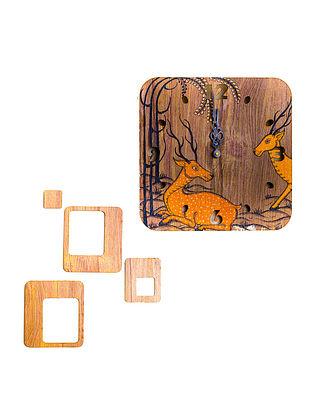 Handpainted Deer Wall Clock (L-10in, W-10in, H-2in)