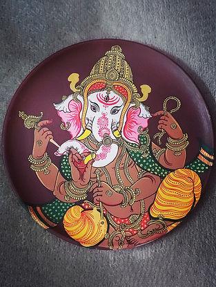 Handpainted Pattachitra Ganpati Wall Plate (L-10in, W-10in, H-1in)