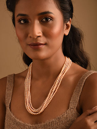 Peach Fresh Water Pearl Beaded Necklace