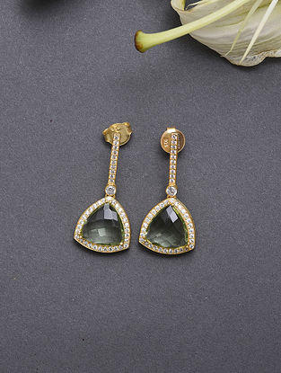 Gold Plated Sterling Silver Earrings With Cubic Zirconia