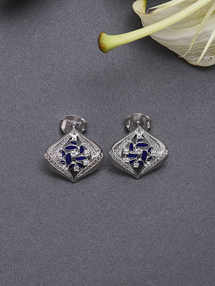 Blue Enameled Sterling Silver Earrings With Cubic Zirconia