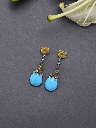 Blue Gold Plated Sterling Silver Earrings With Cubic Zirconia