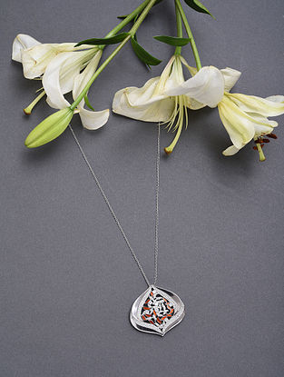 Red Enameled Sterling Silver Pendant With Cubic Zirconia