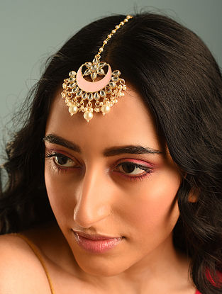 Pink Gold Tone Kundan Enameled Maangtikka With Pearls