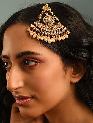 Gold Tone Kundan Inspired Passa With Pearls