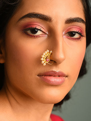Red Gold Tone Nosepin With Pearls