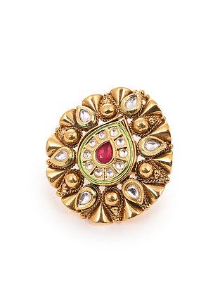 Red Gold Tone Kundan Adjustable Ring