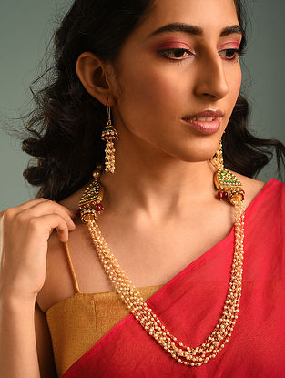 White Gold Tone Kundan Beaded Necklace With Earrings