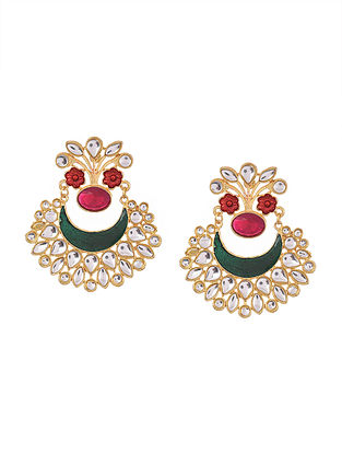 Red Green Gold Tone Enameled Chandbali Earrings