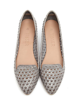 Grey Handwoven Genuine Leather Shoes